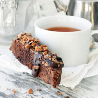 double chocolate biscotti with tea