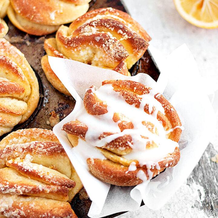 lemon pull apart rolls in muffin tin