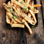 Oven-baked fries, gravy, aged cheddar, Parmesan and fresh herbs