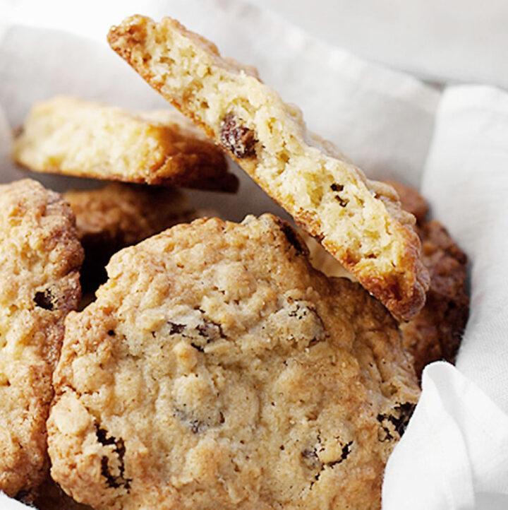 oatmeal raisin cookies in basket