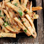 Oven-baked Fries with Gravy, Aged Cheddar, Parmesan and Fresh Herbs
