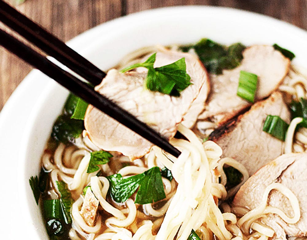 ramen noodle soup in white bowl