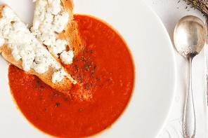 30 Minute Homemade Tomato Soup with Warm Goat Cheese Toast