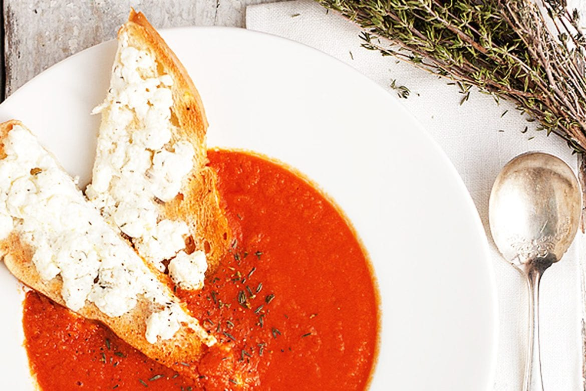 30 Minute Homemade Tomato Soup with Goat Cheese Toast