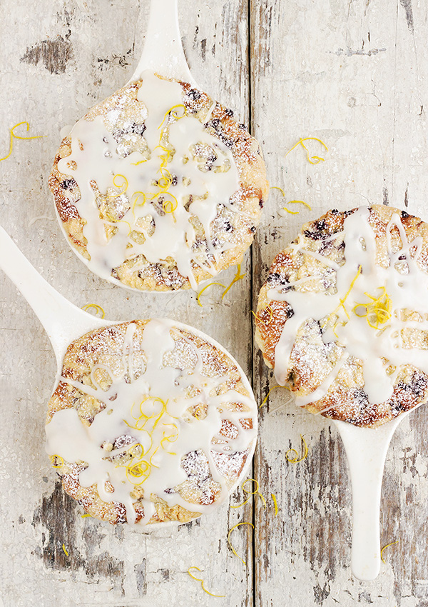 Blueberry Buttermilk Cakes with Sweet Lemon Glaze
