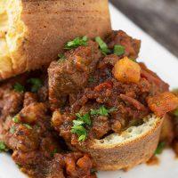 Italian Beef Stew in Parmesan Popovers