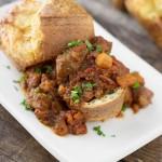 Italian Beef Stew in Parmesan Herb Popovers