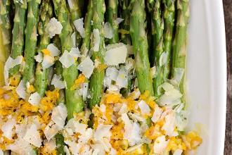 Warm Asparagus Salad with Orange Dressing and Parmesan