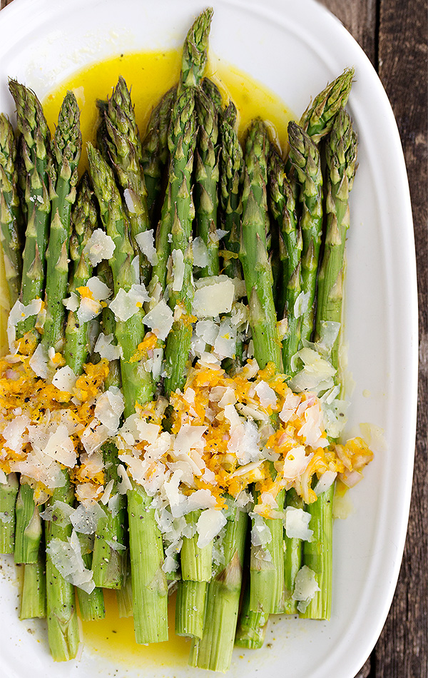 Warm Asparagus Salad with Orange Dressing and Parmesan