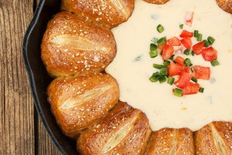 Warm Skillet Pretzels Rolls and Mexican Cheese Dip