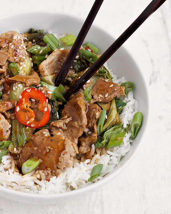 Fast Spicy Orange Sesame Pork Stir Fry with Asian Greens