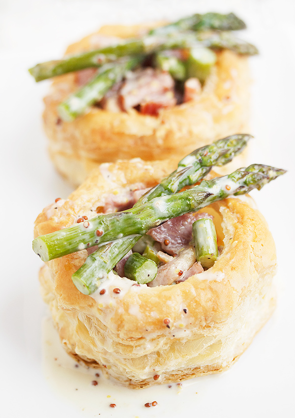 Ham and Asparagus Vol au Vent with a Creamy and Grainy Mustard Sauce