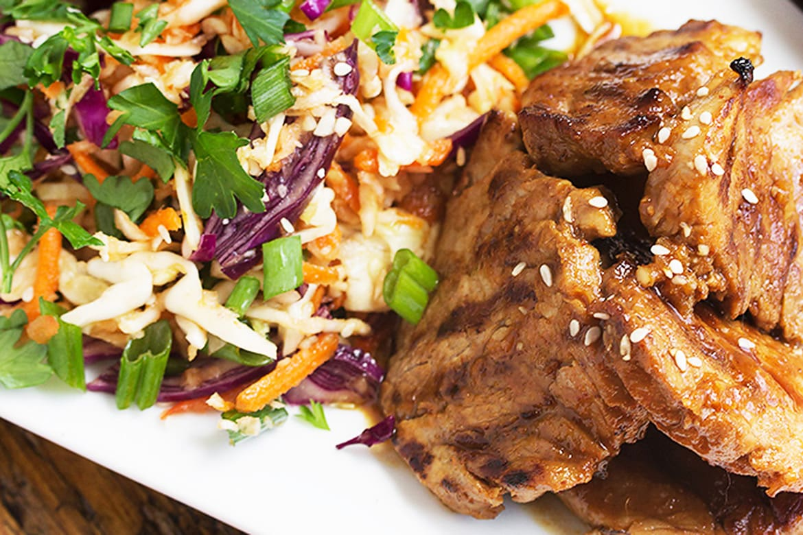 Spicy Grilled Korean Pork Tenderloin With Asian Slaw