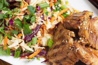 Spicy Korean Grilled Pork with Asian Slaw