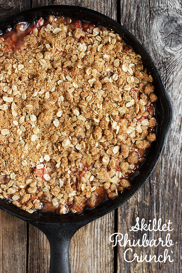 Skillet Rhubarb Crunch - with a crunch layer on both the top and bottom and sweet, saucy rhubarb in between, this is rhubarb perfection | Seasons and Suppers