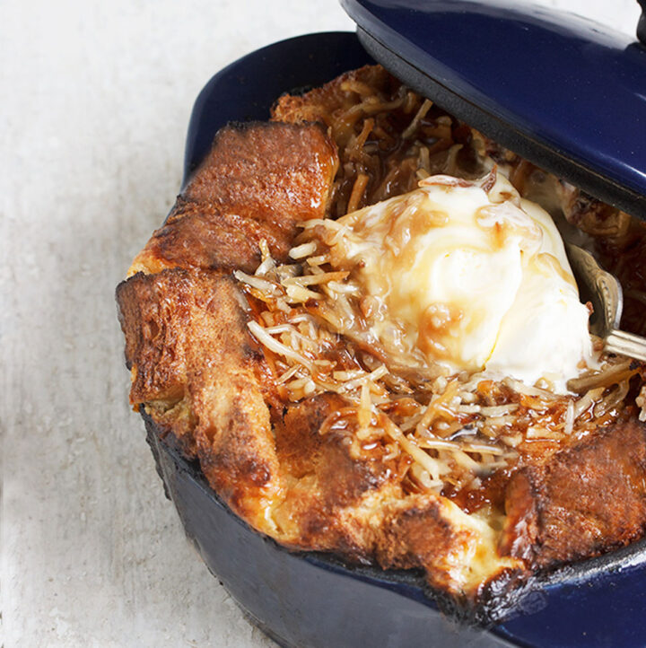 banana bread pudding with ice cream on top