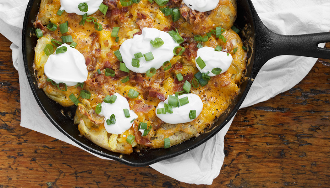 Loaded Smashed Potato Skillet - Seasons and Suppers