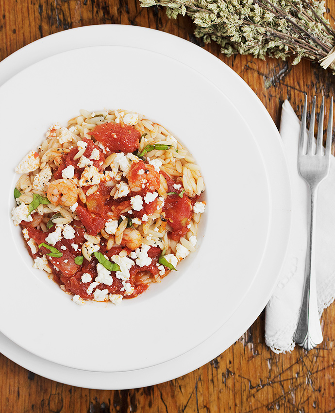Orzo with Shrimp, Tomatoes and Feta