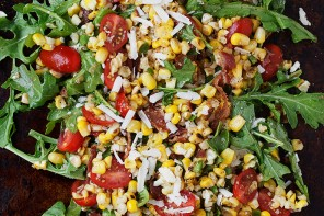 Grilled Corn, Tomato, Bacon and Arugula Salad