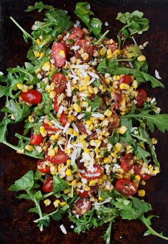Grilled Corn, Tomato, Bacon and Arugula Salad