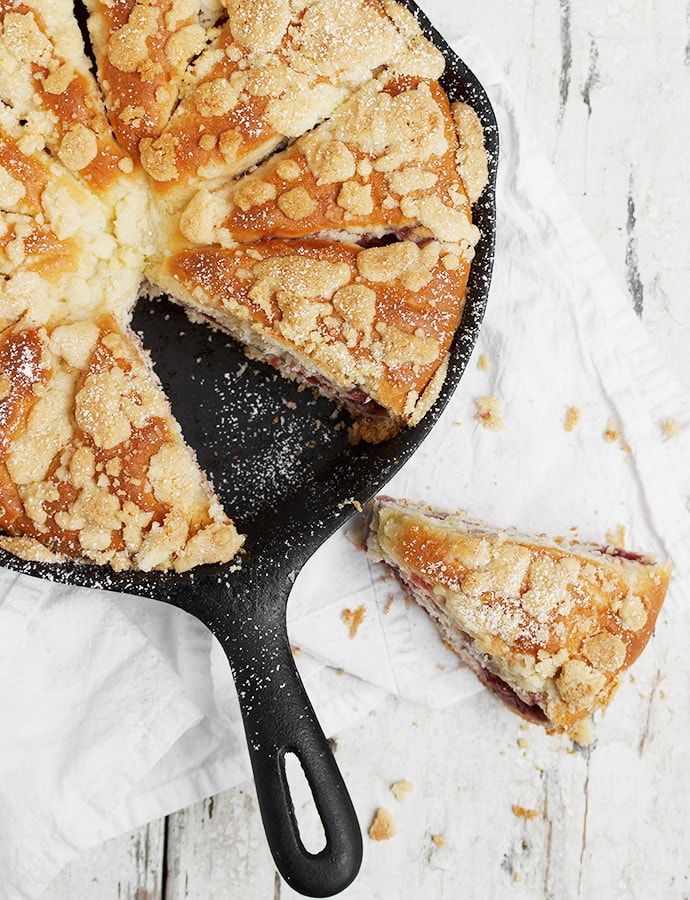 Strawberry Streusel Sweet Skillet Bread