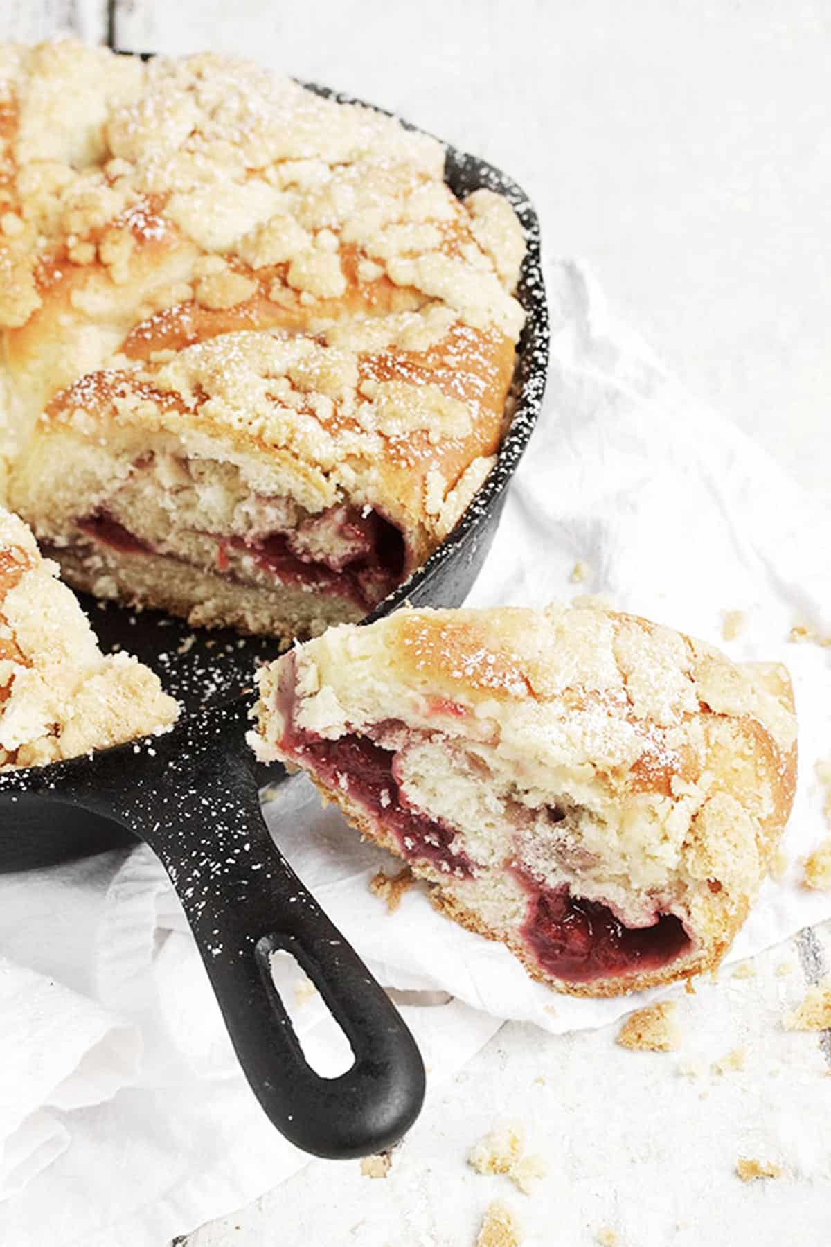 strawberry filled yeast bread baking in a skillet