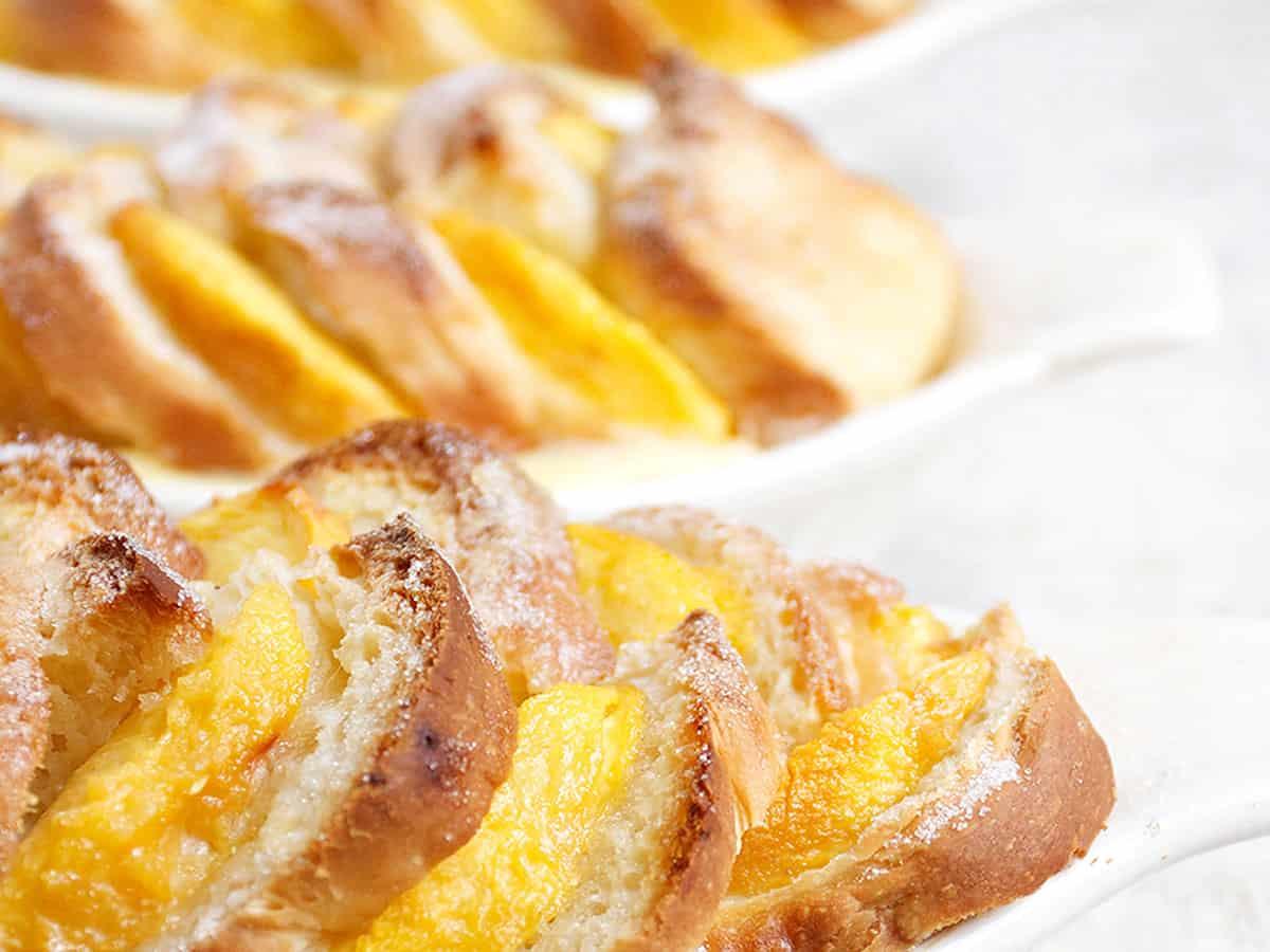 peach bread pudding in dish