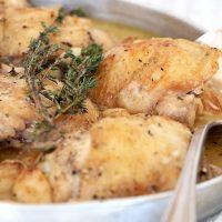 chicken with garlic gravy in serving tray