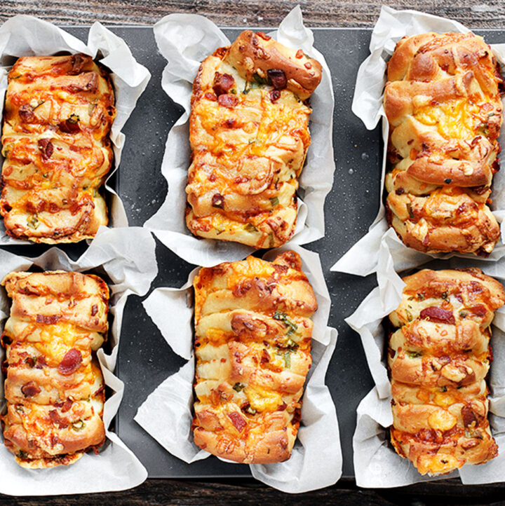 loaded baked potato pull apart loaves in pan