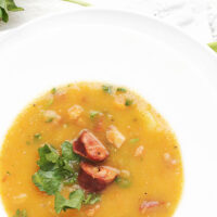 Portuguese Caldo Verde Soup in white bowl