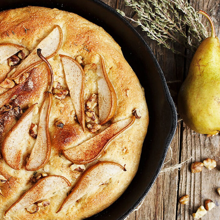 pear and walnut focaccia in cast iron skillet