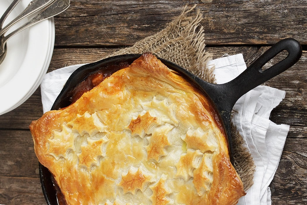 Skillet Beer-Braised Beef and Vegetable Pot Pie with Puff Pastry Topping