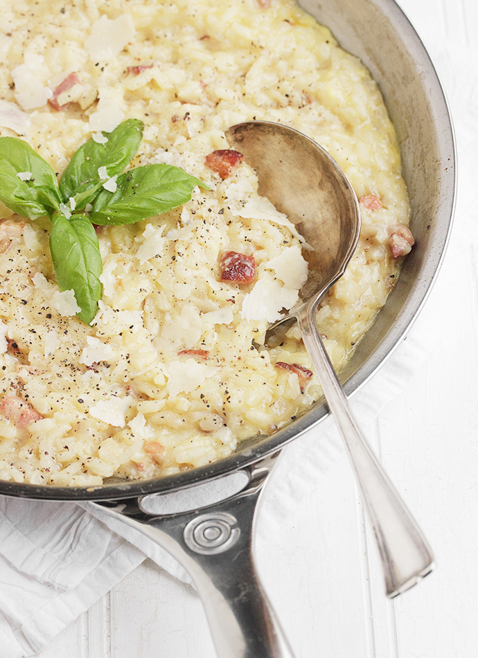 Baked Risotto Carbonara - Seasons and Suppers