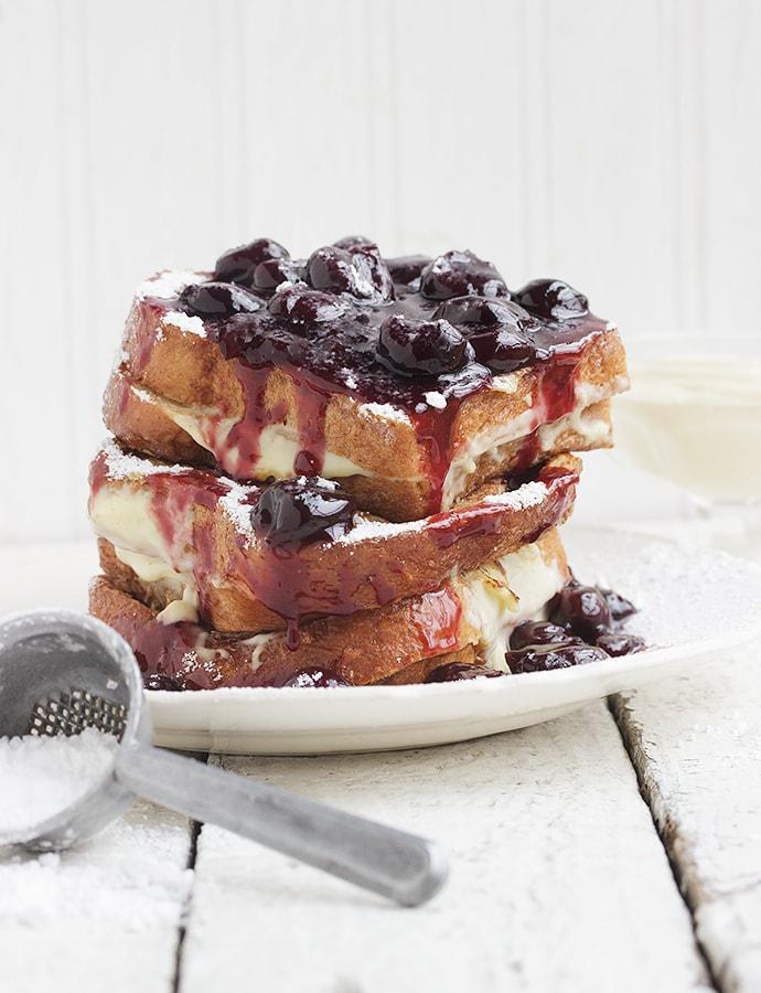 Cherry French Toast with Vanilla Cream