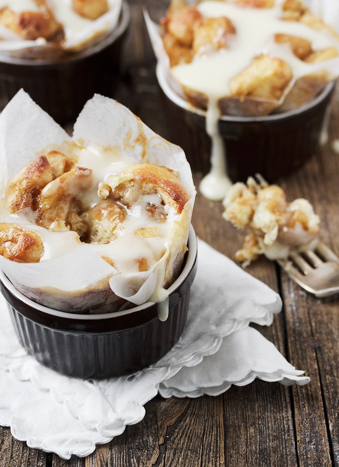Individual Warm Cinnamon Roll Bites with Cream Cheese Icing