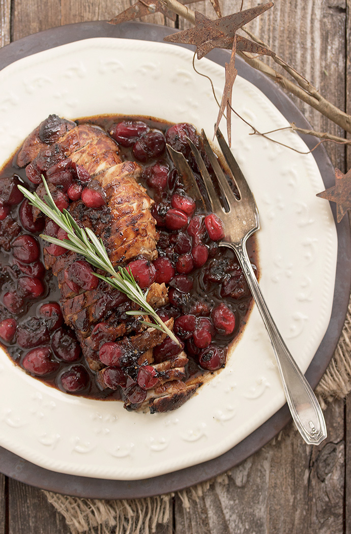 Pork Tenderloin recipe with Maple Balsamic and Cranberry Sauce