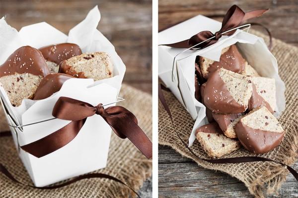 Chocolate Dipped Hazelnut and Cocao Nib Sandies