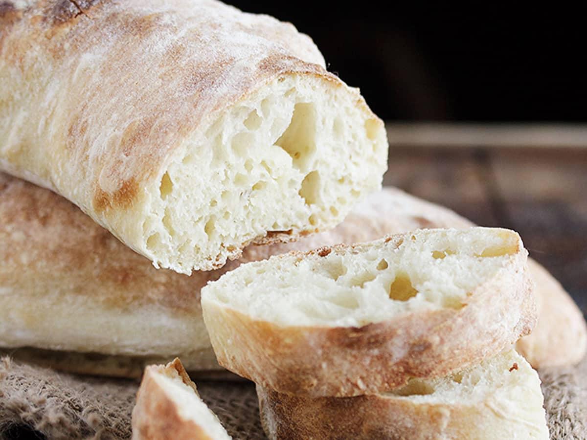 homemade ciabatta bread sliced