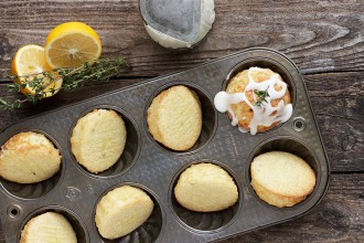GLAZED LEMON AND THYME OLIVE OIL CAKES