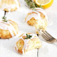 lemon thyme olive oil cakes on white background