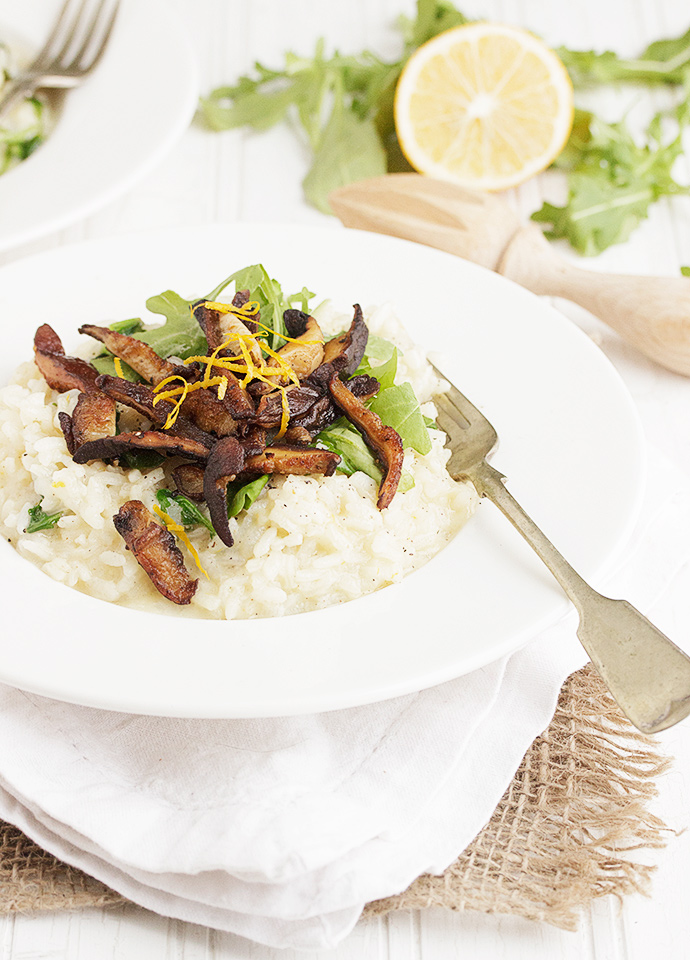 Meyer Lemon Risotto with Arugula And Shiitakes - Seasons and Suppers