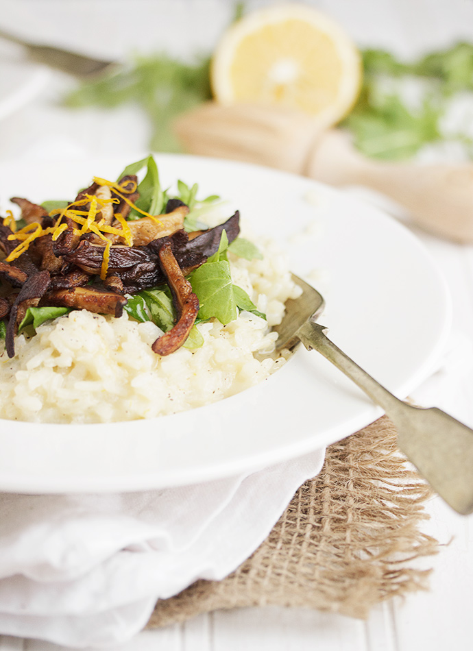 Meyer Lemon Risotto with Arugula and Shiitakes
