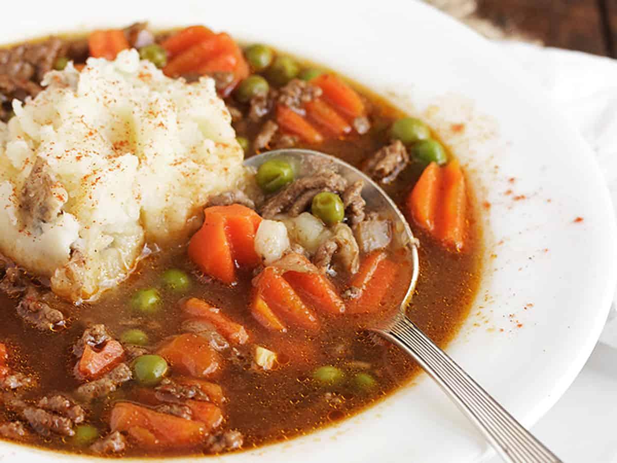 shepherd's pie soup in white bowl