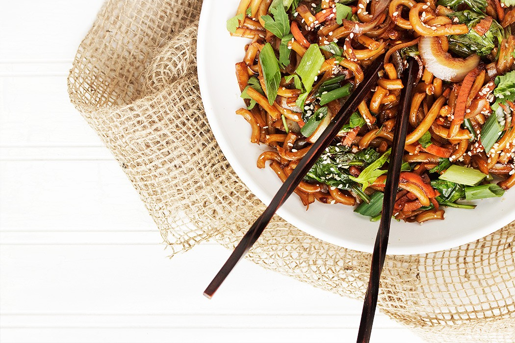 Five Spice Pork & Veggies With Udon Noodles Recipe — Dishmaps