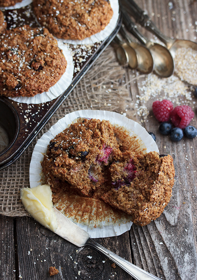 Mixed Berry Bran Muffins - Seasons and Suppers