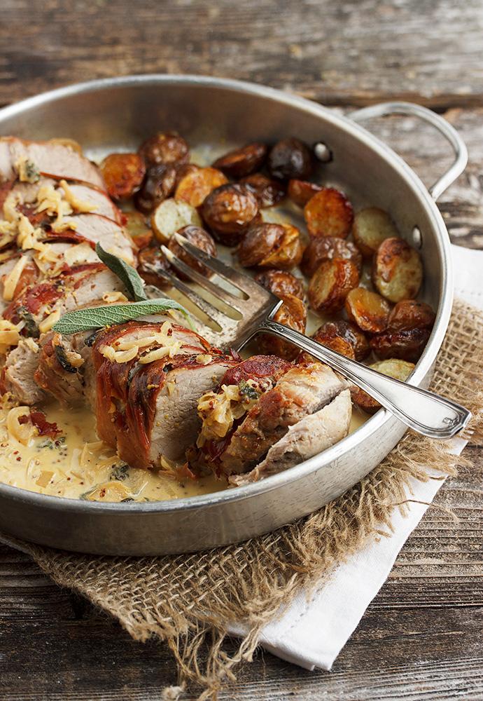 Prosciutto-Wrapped Pork Tenderloin with Potatoes