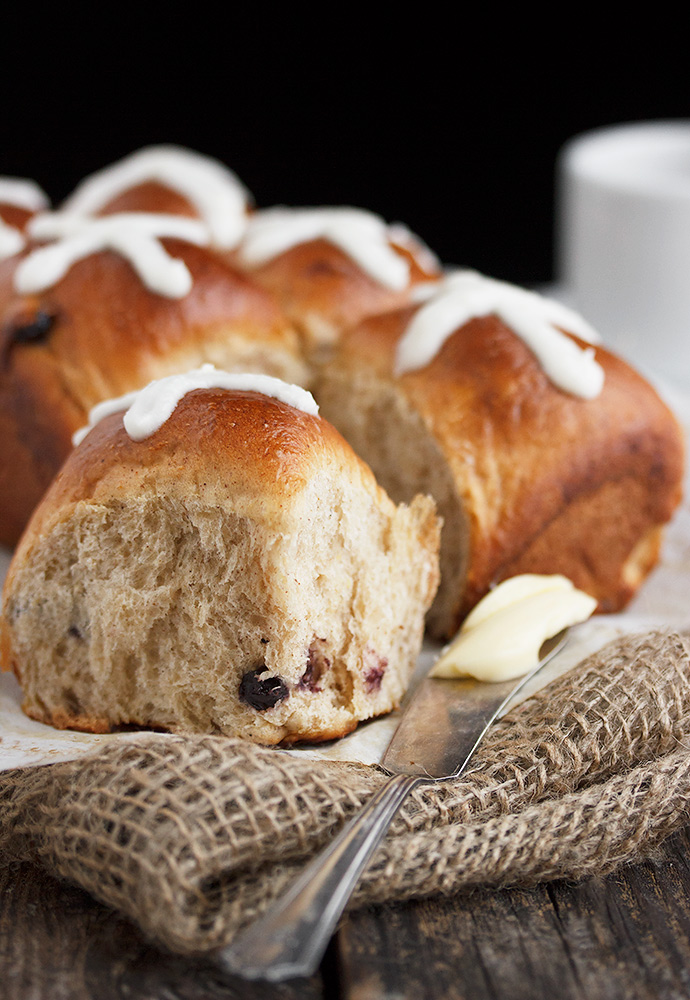 Small-Batch Blueberry Hot Cross Buns