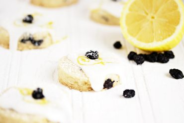 Glazed Lemon and Dried Blueberry Shortbread Cookies