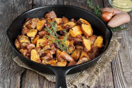 Dijon Roasted Mini Sweet Potatoes with Bacon and Shallots