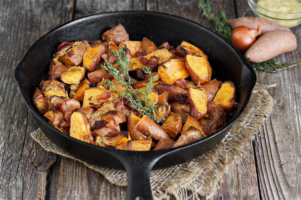 Dijon Roasted Mini Sweet Potatoes with Bacon and Shallots
